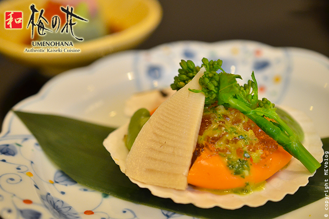 Scallop and seasonal vegetable with Ponzu Gelee