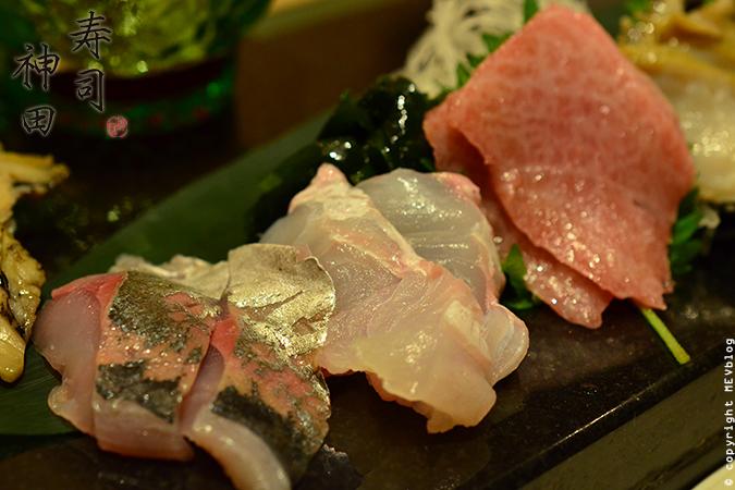 ปลาทู (Aji) ปลาตาเดียว (Hirame) และ ส่วนท้องของปลาทูน่า (Otoro)